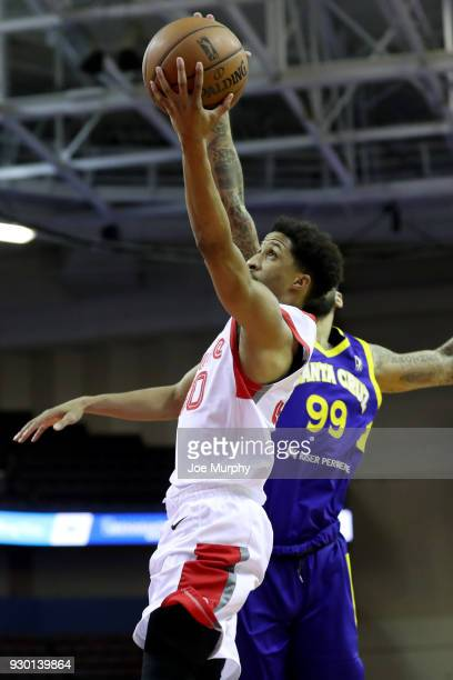 J Frazier of the Memphis Hustle goes to the basket against the Santa Cruz Warriors during an NBA GLeague game on March 10 2018 at Landers Center in...