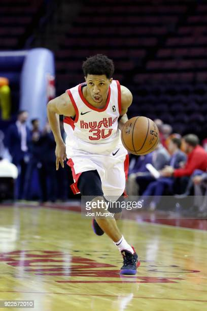 J Frazier of the Memphis Hustle handles the ball against Northern Arizona Suns during an NBA GLeague game on February 21 2018 at Landers Center in...