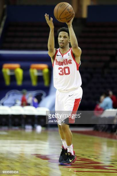 J Frazier of the Memphis Hustle passes the ball against Santa Cruz Warriors during an NBA GLeague game on March 10 2018 at Landers Center in...
