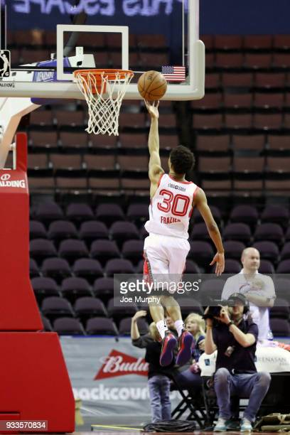 J Frazier of the Memphis Hustle shoots the ball against Santa Cruz Warriors during an NBA GLeague game on March 10 2018 at Landers Center in...