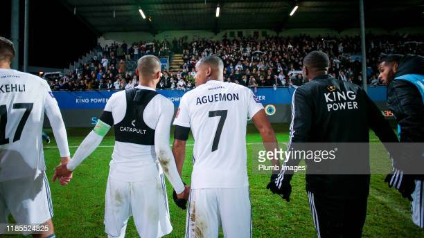 Frédéric Duplus of OH Leuven and Yanick Aguemon of OH Leuven after winning the Proximus League match between OH Leuven and Sporting Lokeren at the...
