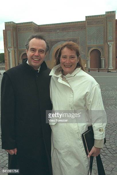 Frédéric Mitterrand and Catherine Feff in front of the Bab El Mansur Gate