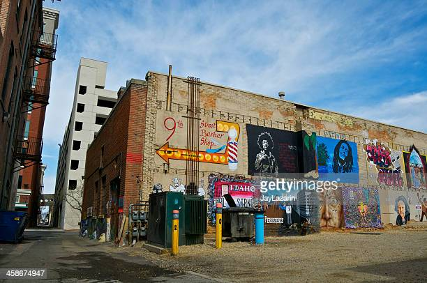 freak alley mural project in downtown boise, idaho western usa - boise idaho stock pictures, royalty-free photos & images