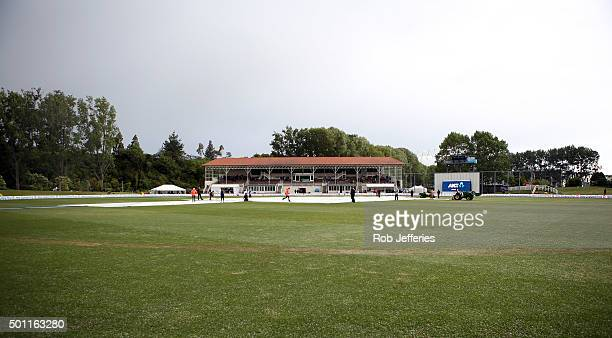Freak hail storm hits the University Oval, Dunedin during day four of the First Test match between New Zealand and Sri Lanka at University Oval on...
