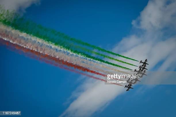 Frecce Tricolori perform at Autodromo di Monza prior to the F1 Grand Prix of Italy Frecce Tricolori fly the Aermacchi MB339A/PAN and they are the...