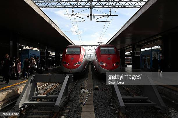 Freccia Rossa highspeed trains operated by Trenitalia SpA stand at Termini railway station in Rome Italy on Tuesday Feb 9 2016 The Poste Italiane IPO...