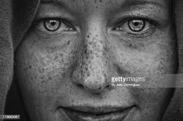 freckles 1 - black and white face stock photos and pictures