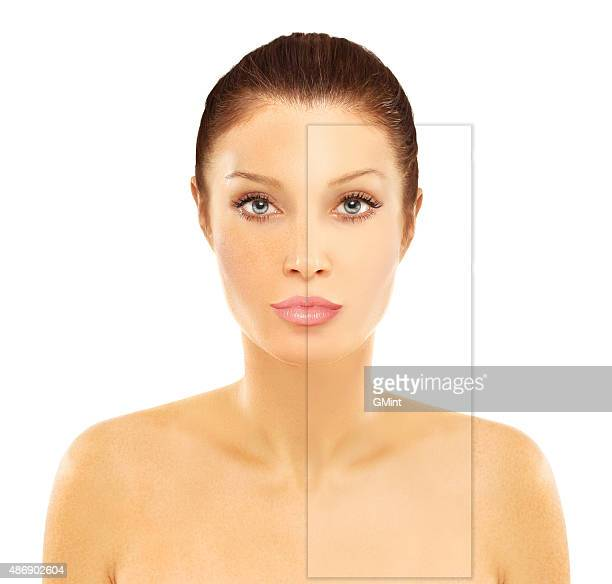 freckles. model's face divided in two parts. - pores stock photos and pictures