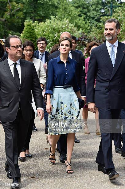 Frecnh President Francois Hollande Queen Letizia of Spain and King Felipe of Spain arrive to attend the Velasquez painting exhibition at the Grand...