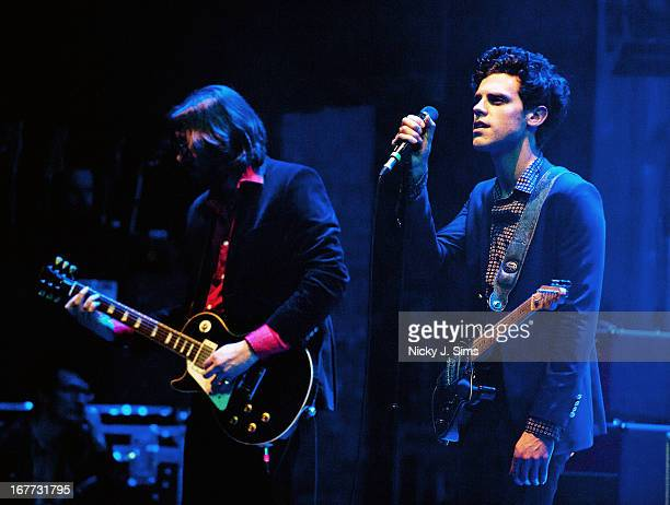 Fred Abbot and Charlie Fink of Noah and The Whale perform on stage at Palace Theatre on April 28 2013 in London England