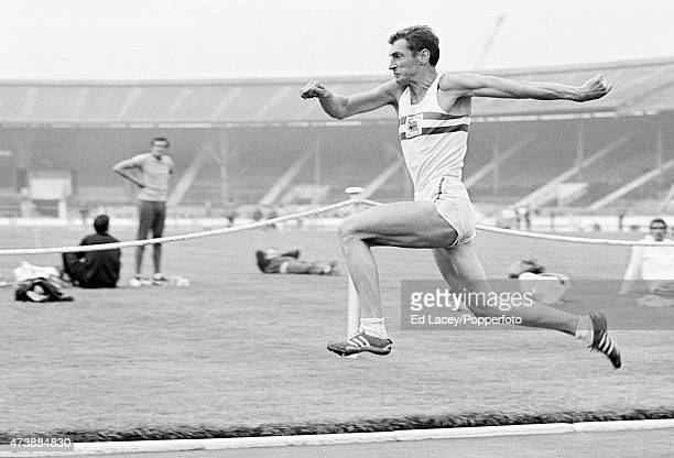 Fred Alsop of Great Britain in action duing a Long Jump event at the White City Stadium in London on 1st August 1969