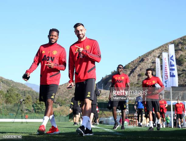 Fred and Bruno Fernandes of Manchester United in action during a first team training session on February 10 2020 in Malaga Spain