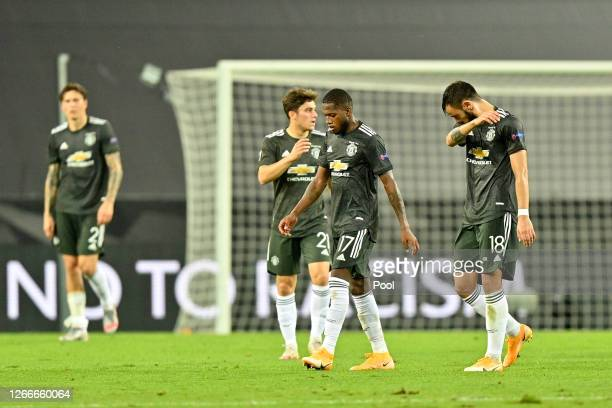 Fred and Bruno Fernandes of Manchester United look dejected following their sides defeat in the UEFA Europa League Semi Final between Sevilla and...