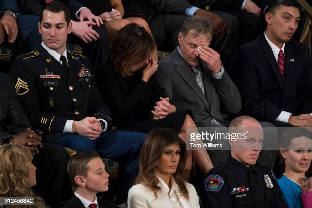 Fred and Cindy Warmbier the parents Otto Warmbier who was jailed in North Korea and subsequently died are recognized during President Donald Trump's...