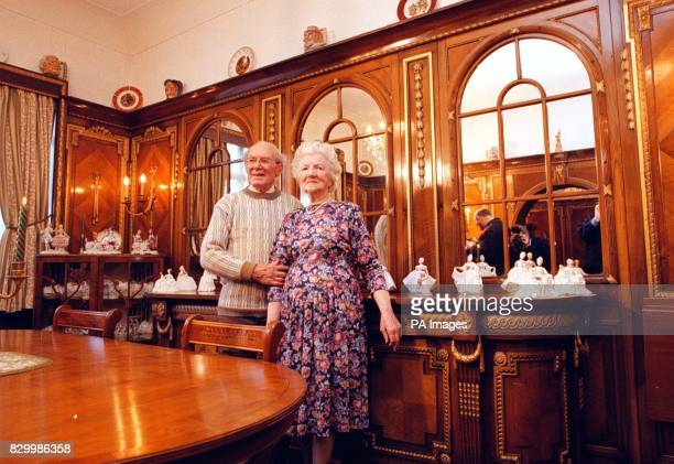 Fred and Joyce Norton surrounded by wood paneling from RMS Olympic sister ship of the Titanic which is to be removed from their Southport house and...