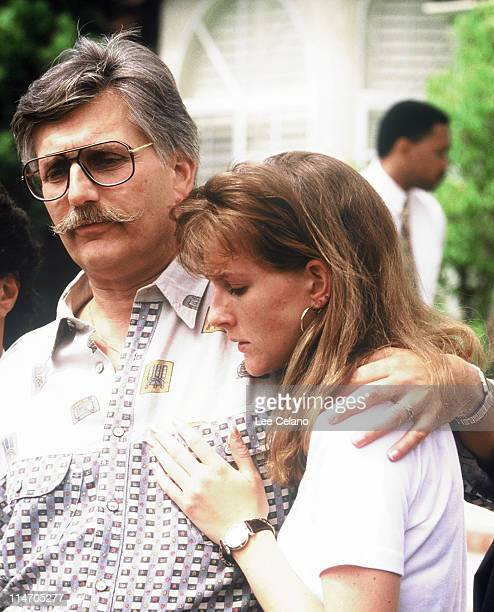 Fred and Kim Goldman father and sister of Ronald Goldman appear in front of the media June 15 1994 at their home in Agoura Hills CA following the...