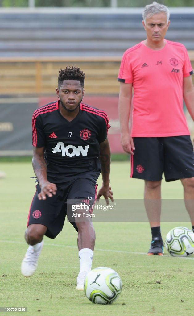 Fred and Manager Jose Mourinho of Manchester United in action during a first team training session as part of their pre-season tour of the USA at Barry University on July 29, 2018 in Miami, Florida.