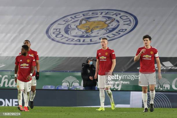 Fred, Anthony Martial, Scott McTominay, Harry Maguire of Manchester United react to conceding a goal to Kelechi Iheanacho of Leicester City during...