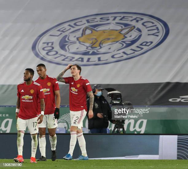 Fred, Anthony Martial, Victor Lindelof of Manchester United react to conceding a goal to Kelechi Iheanacho of Leicester City during the FA Cup...