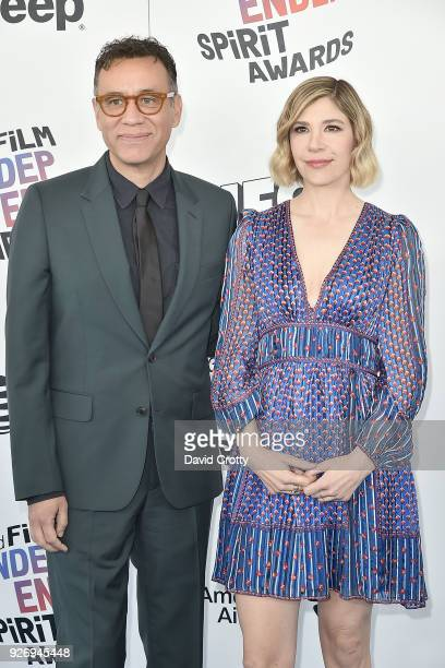 Fred Armisen and Carrie Brownstein attend the 2018 Film Independent Spirit Awards Arrivals on March 3 2018 in Santa Monica California