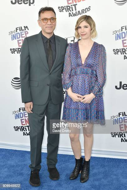 Fred Armisen and Carrie Brownstein attend the 2018 Film Independent Spirit Awards - Arrivals on March 3, 2018 in Santa Monica, California.