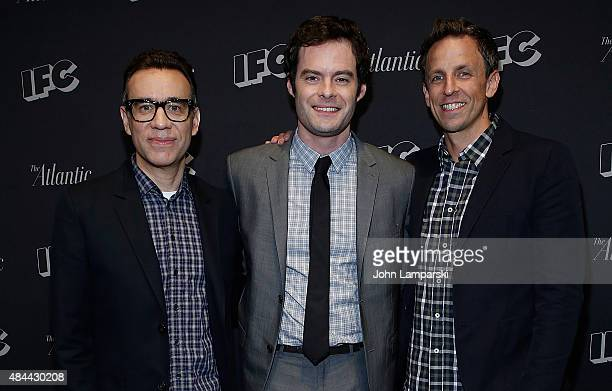 Fred Armisen Bill Hader and Seth Meyers attend Documentary Now New York screening at New World Stages on August 18 2015 in New York City