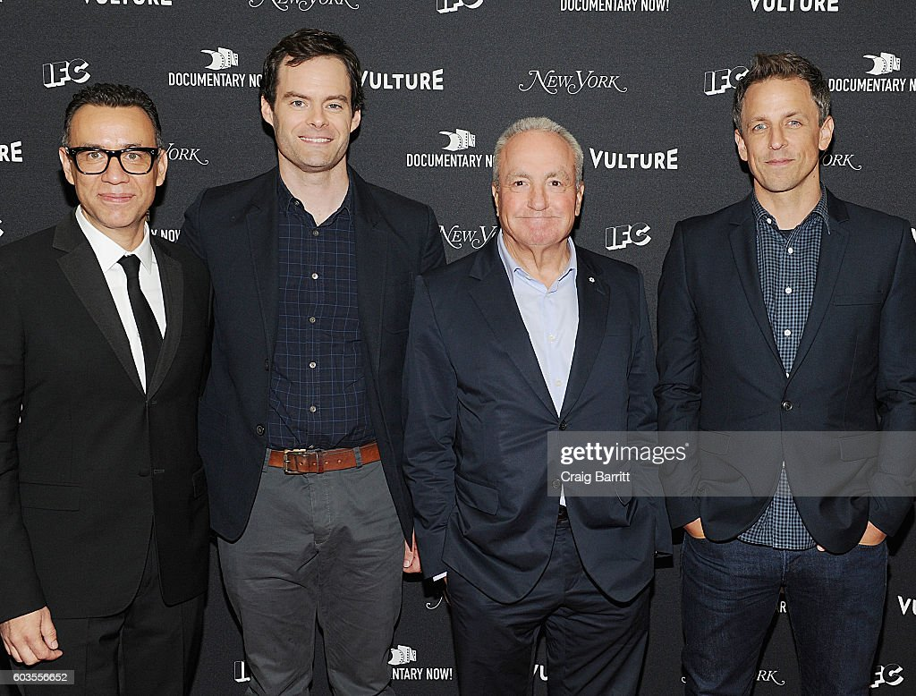 Fred Armisen, Bill Hader, Lorne Michaels and Seth Meyers attend as IFC, New York Magazine and Vulture host the premiere of 'Documentary Now' at the New Museum on September 12, 2016 in New York City.
