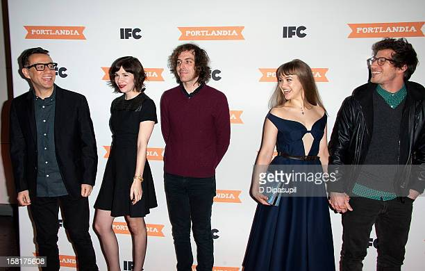 Fred Armisen Carrie Brownstein Jonathan Krisel Joanna Newsom and Andy Samberg attend IFC's Portlandia season 3 premiere at the American Museum of...
