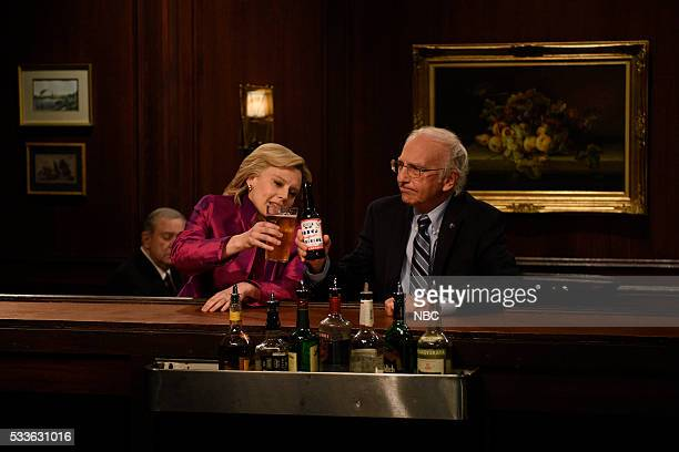 """Fred Armisen"""" Episode 1704 -- Pictured: Kate McKinnon as Hillary Clinton and Larry David as Bernie Sanders during the """"Hillary and Bernie Cold Open""""..."""