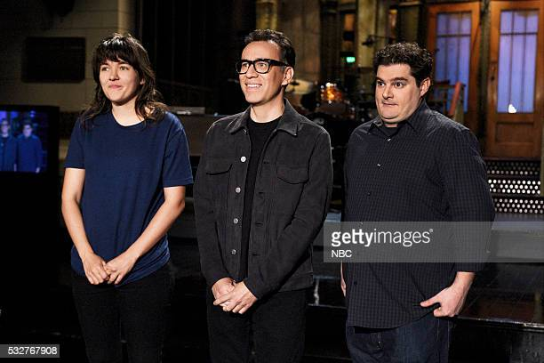 LIVE Fred Armisen Episode 1704 Pictured Musical guest Courtney Barnett host Fred Armisen and Bobby Moynihan on May 19 2016