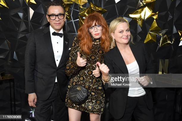 Fred Armisen, Natasha Lyonne and Amy Poehler attend the 2019 Netflix Primetime Emmy Awards After Party at Milk Studios on September 22, 2019 in Los...