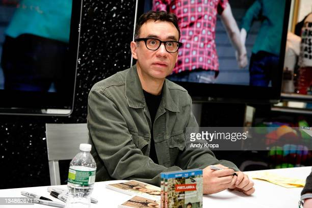 Fred Armisen promotes the first season DVD Portlandia at the NBC Experience Store on December 4 2011 in New York City