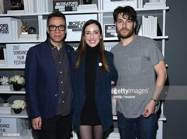 Fred Armisen Zoe ListerJones and Adam Pally attend the 2017 Sundance Film Festival premiere of BandAid hosted at PepsiCos Creators League Studio on...