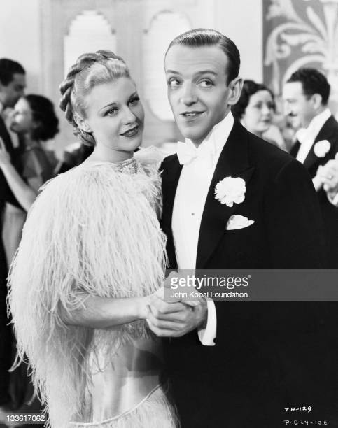 Fred Astaire and Ginger Rogers in a scene from the comedy musical 'Top Hat' directed by Mark Sandrich 1935