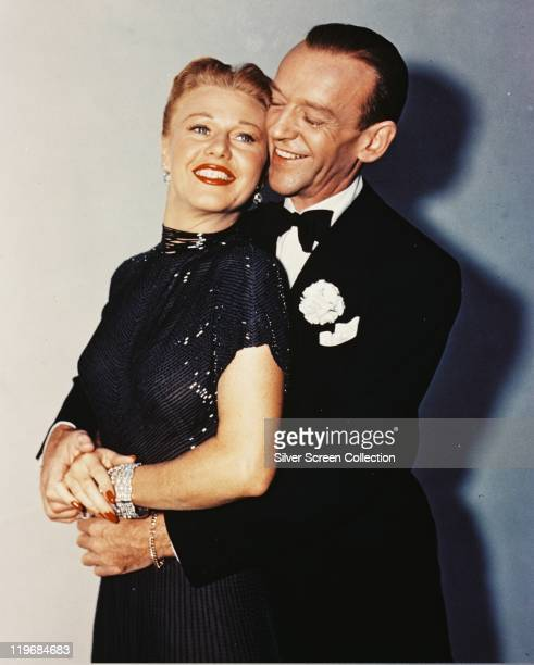 Fred Astaire US actor and dancer wearing a black dinner suit and bow tie and Ginger Rogers US actress and dancer wearing a black sleeveless dress...
