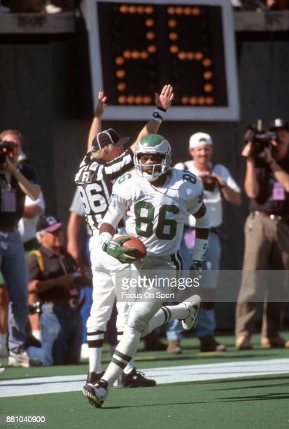Fred Barnett of the Philadelphia Eagles in action during an NFL football game circa 1995 at Veterans Stadium in Philadelphia Pennsylvania Barnett...