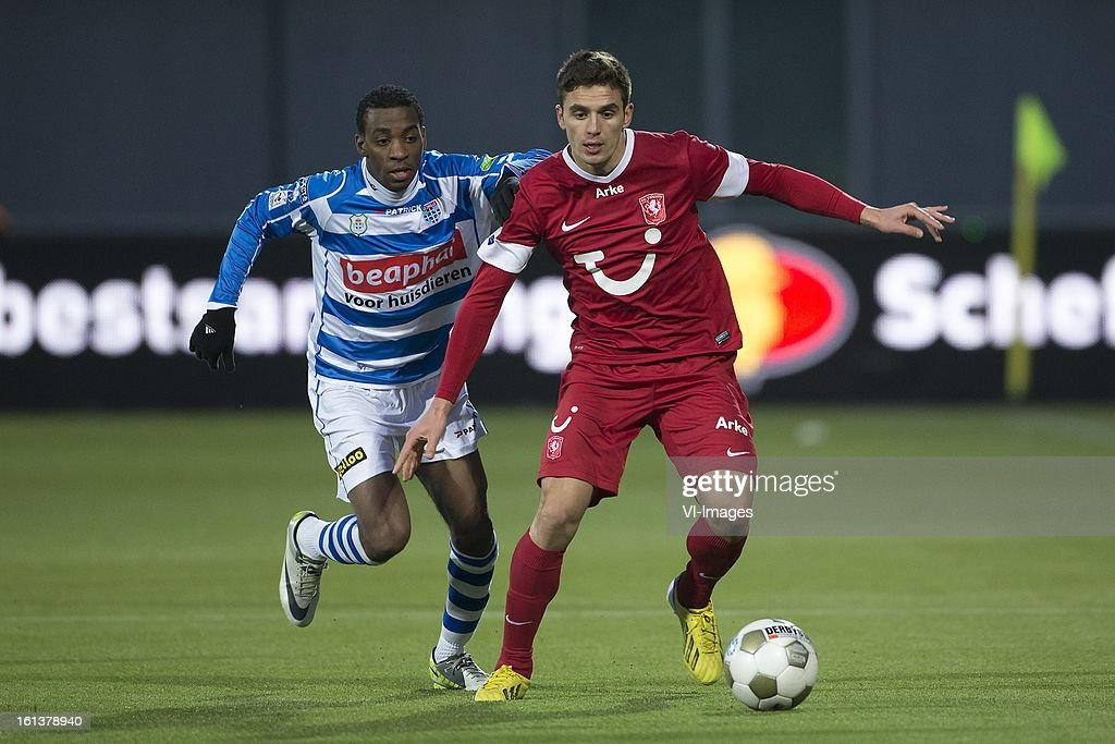 Fred Benson of PEC Zwolle, Dusan Tadic of FC Twente during the Dutch Eredivisie match between PEC Zwolle and FC Twente at the IJsseldelta Stadium on february 10, 2013 in Zwolle, The Netherlands