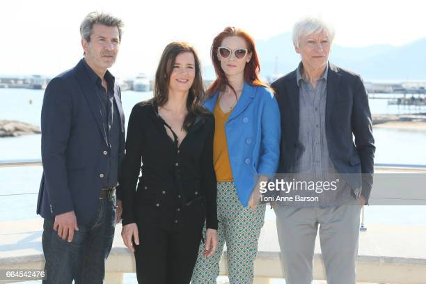 Fred Bianconi Caroline Proust Audrey Fleurot and Philippe Duclos attend Engrenages Photocall on April 3 2017 in Cannes France