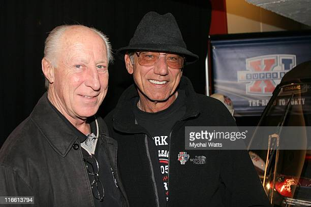 Fred Biletnikoff and Joe Namath during Official Celebrity Gift Lounge Super Bowl XL Produced by On 3 Productions Day 3 at Renaissance Center in...