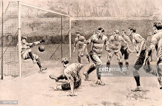 Fred Blackburn scores England's first goal during the International match against Scotland at Crystal Palace in London 30th March 1901 The Scottish...