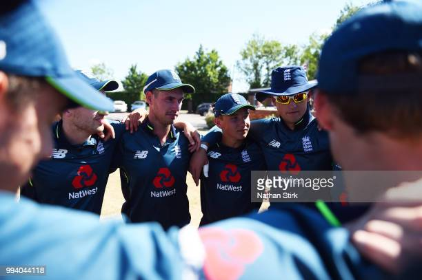 Fred Bridges Ali Laywad and Hugo Hammond of England during the Vitality IT20 Physical Disability TriSeries match between England and Bangladesh at...
