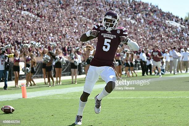 Fred Brown of the Mississippi State Bulldogs celebrates a touchdown against the Texas AM Aggies during the third quarter of a game at Davis Wade...