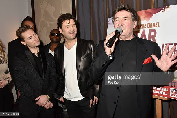 Fred Cauvin singer Jean Pierre Danel and his father singer Pascal Danel attend 'Guitar Tribute' by Golden disc awarded Jean Pierre Danel at Hotel...