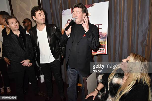 Fred Cauvin singer Jean Pierre Danel his father singer Pascal Danel and Loana Petrucciani attend 'Guitar Tribute' by Golden disc awarded Jean Pierre...