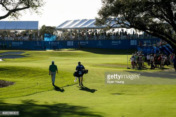 Fred Couples and his caddy walk up the 18th fairway during the second round of the PGA TOUR Champions Allianz Championship at The Old Course at...
