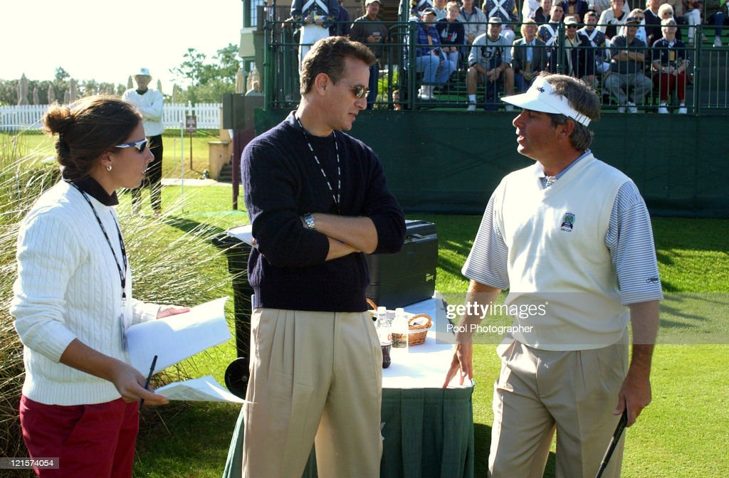 Fred Couples (center) being interviewed by Golf Channel during the practice round for the 2004 UBS World Cup at the Cassique Course on Kiawah Island, South Carolina on November 18, 2004.