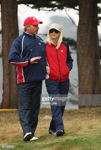 Fred Couples Captain of the USA Team hugs Elin Woods during the Day Four Singles Matches of The Presidents Cup at Harding Park Golf Course on October...