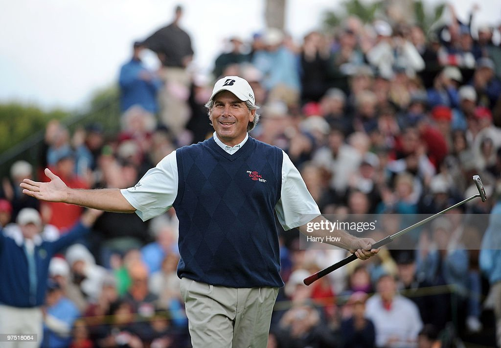 Fred Couples celebrates his win on the 18th green during the third round of the Toshiba Classic at the Newport Beach Country Club on March 7, 2010 in Newport Beach, California.