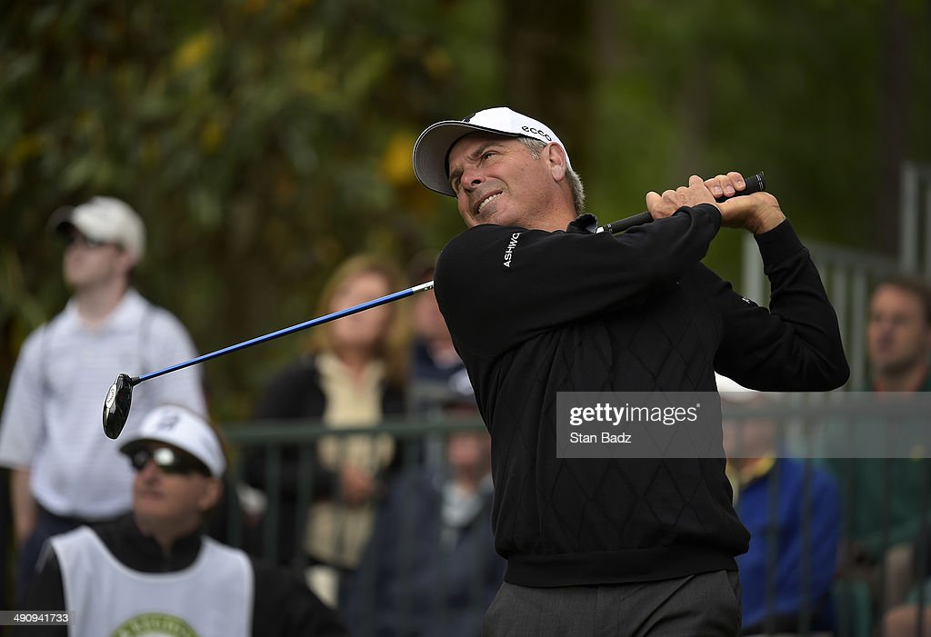 Fred Couples hits a tee shot on the 14th hole during the first round of the Regions Tradition at Shoal Creek on May 15, 2014 in Shoal Creek, Alabama.