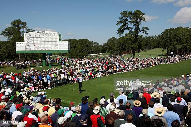 Fred Couples hits his tee shot on the eighth hole during the second round of the 2010 Masters Tournament at Augusta National Golf Club on April 9...